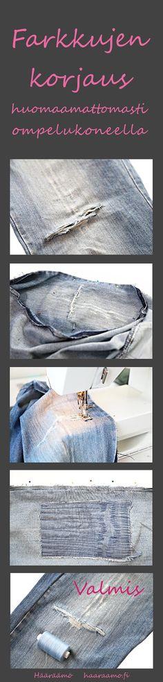 Ohje: Farkkujen korjaus huomaamattomasti ompelukoneen suoralla ompeleella. http://www.haaraamo.fi