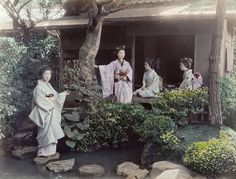 Scene at Tea-house, ca. 1880 by Kusakabe Kimbei