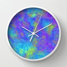 Psychedelic Wall Clock with or without Numbers, Blue Clock, Blue Wall Clock, Turquoise Clock,  Galax