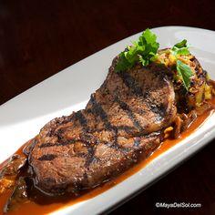 bistec a la parilla | ribeye, plantain fufu, chipotle mushroom demi glace