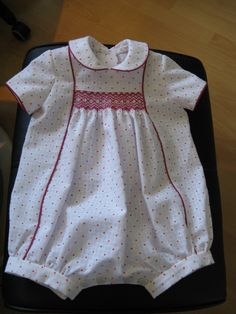 Smocked outfit for Lizzie, Allan and Gill's baby. Size six months.