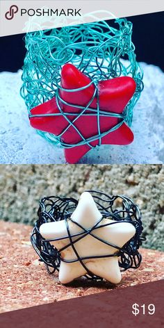 """Handcrafted Star crochet wire ring 3/4"""" Natural Turquoise Stone Star wire wrapped to 3/4""""  silver plated Chrochet Wire Band/Statement Ring made at5am Jewelry Rings"""