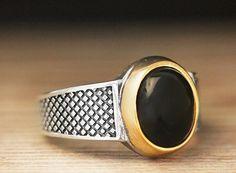 925 K Sterling Silver Man Ring Black Onyx 11 US Size B18-64136 #eJOYA #Cluster
