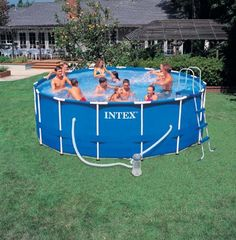 intex metal frame pool x swimming pool above ground 15 ft diameter 48 inch deep with filter pump ladder ground cloth cover maintenance kit and set up dvd