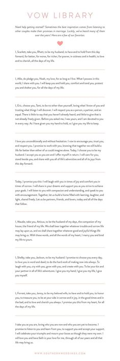 Romantic Wedding Vows Find inspiration for writing personal wedding vows with these nine romantic examples!Find inspiration for writing personal wedding vows with these nine romantic examples! Personal Wedding Vows, Romantic Wedding Vows, Wedding Bride, Perfect Wedding, Our Wedding, Dream Wedding, Wedding Reception, Trendy Wedding, Wedding Ceremony Script