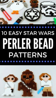 Easy to create Star Wars Perler Bead patterns. Patterns include, stormtroooper, lightsabers, Luke, Leia and so much more. A fun craft for any Star Wars fan. Melty Bead Patterns, Pearler Bead Patterns, Bead Crochet Patterns, Bead Embroidery Patterns, Beading Patterns Free, Perler Patterns, Weaving Patterns, Knitting Patterns, Art Patterns