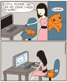 I admit it. I do this.  Work Seat by aprintaday, via Flickr awww kitty