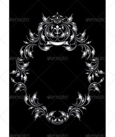 Frame of Silver Leaf in Old Style on Black Background ...  antiques, art, banner, beautiful, black, borders, canvas, creative, crown, curves, dark, decor, design, elements, frame, gothic, handmade, heraldry, illustrations, leaf, ornament, oval, painting, silver, stylish, tape, texture, title, vintage