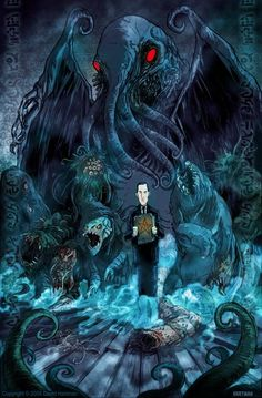 Cthulhu / H.P Lovecraft Hp Lovecraft, Lovecraft Cthulhu, Cthulhu Art, Arte Horror, Horror Art, Dark Fantasy, Fantasy Art, Necronomicon Lovecraft, Science Fiction
