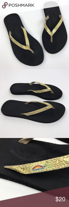🚫Rainbow] Sandiva Gold Sandals Flip Flops Thong 8 Rainbow flip flops. Foam cushioned footbed with metallic gold sparkly thong strap.   🔹Condition: Excellent pre-owned condition. Rainbow Shoes Sandals
