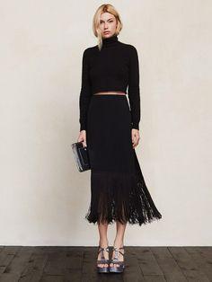 Black fringe midi skirt // Reformation Naya Skirt