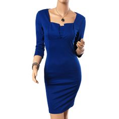 Womens Concise Elegant square Neck Bodycon fold Slim Fit Pencil Dress Features: Intro: Bodycon slim, sexy open chest, half sleeves, suit for party or daily wear. Color:  Blue  Navy blue   Red Material: cotton + polyester