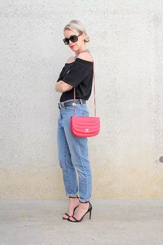 The Tony Townie * LOFT off the shoulder top * Cheap Monday jeans * ASOS belt * Chanel bag * Zara sandals  #ootd #outfitinspo #bloggerstyle #minimalstyle #streetstyleluxe #offtheshoulder #momjeans #chanel #popofcolor #redandblack #aboutalook #womenwithstyle #streetstyle