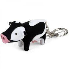 Schlüsselanhänger mit MOO-Sound und LED-Licht Cow - Kikkerland #black #white #cow #led #sound #keyring