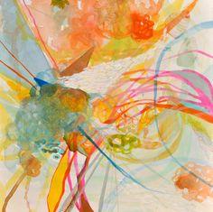 "Brittany Bass ""kittenz"" white, pink, blue, orange, yellow abstract art $35"
