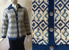 Beautiful handknit Norwegian wool cardigan by afterglowvintage European Style, European Fashion, Knitting Ideas, Hand Knitting, Norwegian Knitting, Wool Cardigan, Bergen, Shades Of Blue, Norway