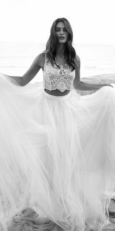 lihi hod bridal 2016 venus beach wedding dress romantic two piece embellished sleeveless crop top full tulle skirt zoom