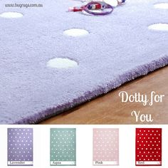 It's love, love, love with our Dotty for You Kids Rugs!  A classic and simple polka dot design in four girlie colours of pink, aqua, lavender, and red.  We are dotty for these children's rugs!  Perfect in nurseries, bedrooms and playrooms.