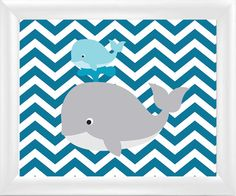 Baby Nursery Whale Chevron Wall Art Decor  Whale by TurnTwoImages, $15.00