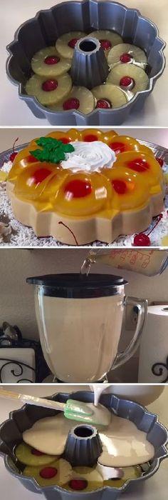 Ideas for recipe cake postres Cold Desserts, Just Desserts, Delicious Desserts, Yummy Food, Jello Dessert Recipes, Gelatin Recipes, Flan Cake, Jello Cake, Mexican Food Recipes