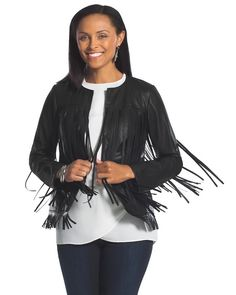 "Fringe Faux-Leather Jacket  This chic faux-leather jacket will add a little edge to your look. Swingy fringe adorns the front and back. Open front. Length: 24""-25"". Polyester. Hand wash. Imported."