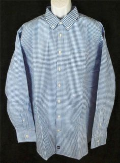 JCPenny JCP Long Sleeve NEW Blue White Checks Dress Shirt Mens Size 3XL XXXL
