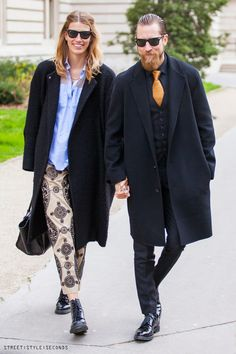 Justin O'Shea and Veronika Heilbrunner  all Ⓒphoto by Street Style Seconds #elegant #menswear