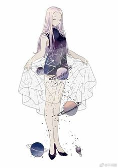 When she lifts her skirt black holes and planets fall out Character Drawing, Character Illustration, Illustration Art, Character Concept, Art Anime, Anime Art Girl, Manga Anime, Anime Girls, Pretty Art
