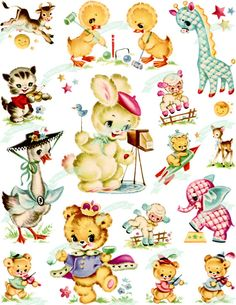 Your place to buy and sell all things handmade Fluffy Animals, Baby Animals, Decoupage, Vintage Wrapping Paper, Vintage Greeting Cards, Vintage Ephemera, Animals Images, Retro Art, Collage Sheet