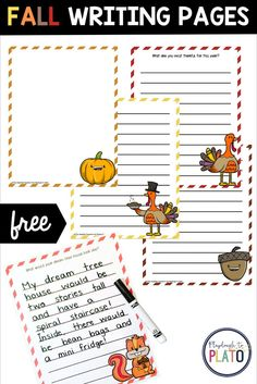 These free fall writing pages are so cute! They are a festive addition to your fall-themed writing centers or Writer's Workshop and as part of your early childhood education curriculum for young children! The fun story prompts and autumn colors are just the trick to make writing exciting for kids and the pages are a motivating addition to your centers too!  #kindergarten #firstgrade #fallactivities #writingcenters Kindergarten Writing Activities, Kindergarten Centers, Math Literacy, Literacy Centers, Learning Activities, Preschool, Playdough To Plato, Writing Centers, Story Prompts