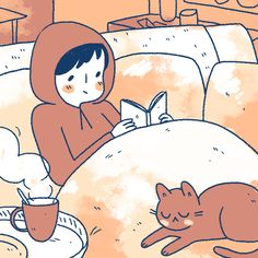 #39 Comics and coffee and cat before work - http://smallthingscomic.tumblr.com/