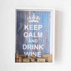 Quadro para Rolhas de Vinho - Keep Calm and Drink Wine - Azul Supermercado Digital