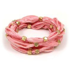 Gold Beaded Pink Vintage Ribbon 6x Wrap