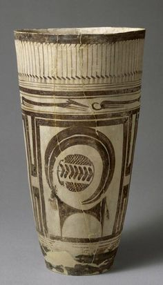Bushel with ibex motifs- Susa I period, circa 4200-3500 BC; Necropolis, acropolis mound, Susa, Iran. This form of pottery, the bushel, was a common funerary object.