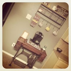 Coffe bar.......done!  Antique pedal singer sewing machine.