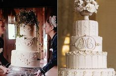 Downton Abbey wedding cake left and antique style wedding cake by Collette Peters right Downton Abbey, Themed Wedding Cakes, Vintage Wedding Theme, Wedding Planning List, Wedding Planner, Wedding Cake Inspiration, Wedding Ideas, Trendy Wedding, Wedding Stuff