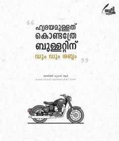 ചങ്കിടിപ്പാണ് 💜🖤 #thoolikathalukal @thoolikathalukal True Quotes, Qoutes, Rider Quotes, Royal Enfield Wallpapers, Gents Hair Style, Enfield Bullet, Malayalam Quotes, Teen Posts, Happy Life