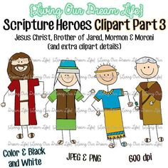 CLIPART Part 3: Book of Mormon Stick Figure Scripture Heroes (Jesus Christ, Brother of Jared, Mormon & Moroni)