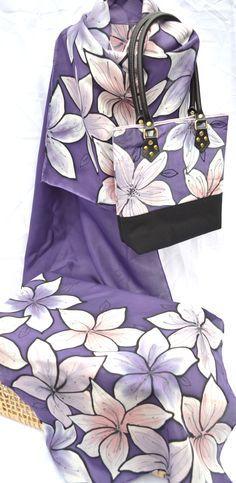 Matching set - silk scarf and handbag. Hand painted silk by Yara Sekiguchi