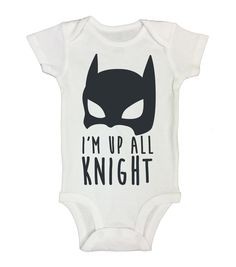 """Batman Inspired Baby Onesie """"Im Up All Knight"""" RB Clothing Company"""