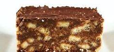 2 el kakao, 250 g margarien 500 g versiersuiker 1 tl vanilla essence 1 pak marie koekies 1 groot eier. Other Recipes, My Recipes, Sweet Recipes, Baking Recipes, Recipies, Baking Ideas, Fudge Recipes, Cookie Recipes, Dessert Recipes