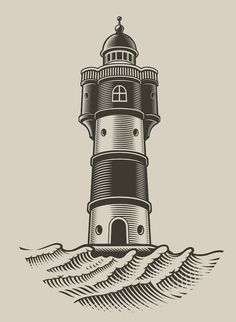 Find Black White Illustration Lighthouse Engraving Style stock images in HD and millions of other royalty-free stock photos, illustrations and vectors in the Shutterstock collection. Thousands of new, high-quality pictures added every day. Motorcycle Shop, Illustration Art, Illustrations, Black And White Illustration, Line Art, Lighthouse, Sailor, Skateboard, Surf