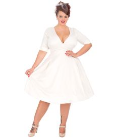 Special Order Plus Size Ivory Satin Stretch Sleeved Marilyn Swing Dress $178.00 AT vintagedancer.com