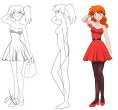 """hollylu-pokeship-art: """" If you noticed, I personalized Misty's dress with a """"Holly"""" pinned to it so that everyone knows I drew her. Misty From Pokemon, All Pokemon, Ash And Misty, Gym Leaders, Love Her, Pikachu, Disney Characters, Fictional Characters, Mermaid"""