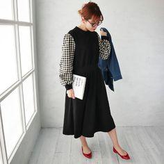 【楽天市場】7624V13 【新作】ギンガムチェックのお袖が可愛いカットワンピース/無地/ウエストマーク/ロングワンピ/マキシワンピース/ジャンスカ/ジャンパースカート/サロペットスカート/ブラック/グレー/異素材ミックス : select shop K.growth Pants, Dresses, Fashion, Trouser Pants, Vestidos, Moda, Fashion Styles, Women's Pants, Dress