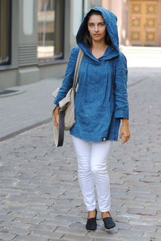 Hooded linen tunic French blue linen tunic linen womens