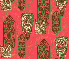 Old School,Nu Ku Gu Christie Coral fabric by sophista-tiki on Spoonflower - custom fabric
