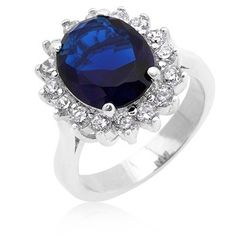 Great Bling Jewellery Kate Middleton Diana Royal Engagement Ring Cubic Zirconia Sapphire Coloration Silver Plated with Crystal Present Box