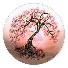Peach Tree of Life Moon Stickers