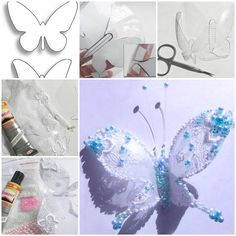 DIY Beautiful Butterflies from Plastic Bottles.Here is a fun DIY project to make a lace and beads decorated DIY Beautiful Butterflies from Plastic Bottles Plastic Bottle Flowers, Plastic Bottle Crafts, Recycle Plastic Bottles, Recycled Bottles, Recycled Crafts, Do It Yourself Inspiration, Ideias Diy, Butterfly Crafts, Butterfly Template